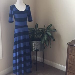 LuLaRoe Ana Dress Blue Stripes